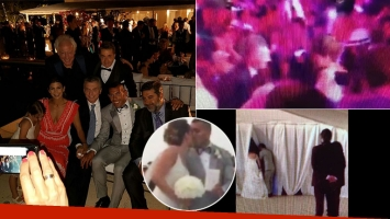 El casamiento de Tevez por adentro. (Fotos: Twitter @avetere y @la12tuittera)
