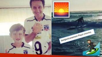 Vicuña compartió un tierno video de su hijo Bautista haciendo surf en Chile: