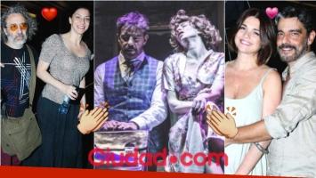 Fabián Mazzei y Romina Gaetani. apoyados por sus parejas en el debut de la obra La Momia (Fotos: Movilpress)