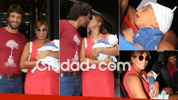 13.11  Ximena Capristo y Gustavo Conti, felices con su hijo recién nacido (Foto: Movilpress)