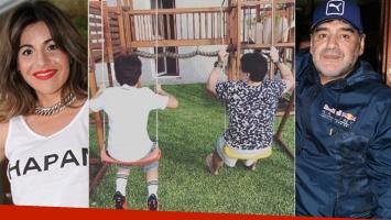 Gianinna Maradona y la emotiva foto del reencuentro de Diego con su nieto, Benjamín (Foto: Twitter)