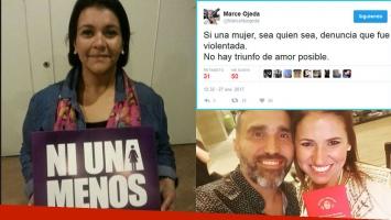 El tweet de Marcela Ojeda tras el casamiento de Fernanda Iglesias y Pablo Nieto. Fotos: Twitter y Web.