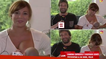 Ximena Capristo le tuvo que dar la teta a su bebé en vivo… y Conti bromeó