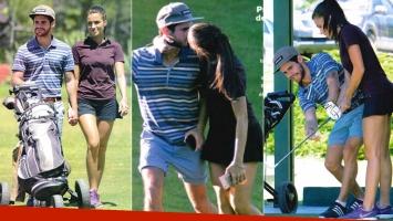 ¡Hoyo en uno al amor! Gastón Soffritti y su novia Agustina Agazzani, apasionados en un torneo de golf en Pinamar. Foto: Revista Gente