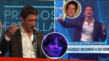Nicolás Vázquez se emocionó al recordar a su hermano Santiago cuando recibió el Estrella de Mar a mejor actor: