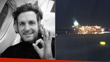 Axel filmó el momento en el que explotaba un motor del avión en el que viajaba. (Fotos: Web e Instagram)