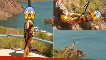 Vanina Escudero cruzó un lago en tirolesa… ¡y en vestido! (Foto: Twitter)