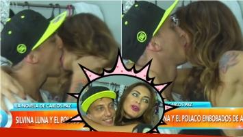 Silvina Luna y El Polaco se comieron la boca arriba del escenario de Abracadabra... ¡y para la cámara de Intrusos! Foto: Captura