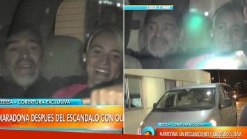 Diego Maradona y Rocío Oliva volvieron a la Argentina juntos y sonrientes (Foto: web)