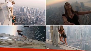 El impresionante video de una modelo rusa a más de 300 metros de altura en Dubai. Fotos: Capturas Instagram y YouTube.