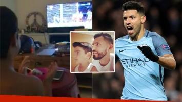 Benjamín Agüero aplaudiendo al Kun al terminar un partido del Manchester City (Foto: web y Twitter)