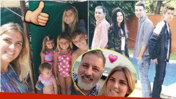 Fabián Doman y su pareja lograron ensamblar la familia y que sus hijos se lleven bien (Fotos: Instagram y revista Caras)