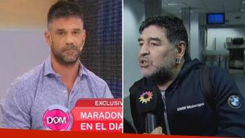 Maradona (con Rocío Oliva al lado) llamó furioso a El Diario de Mariana