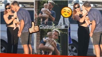 Las fotos de Emmanuel Horvilleur, baboso con el bebé de Celeste Cid (Fotos: Movilpress)