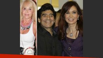 Diego Maradona, Cristina Fernández y Claudia Villafañe.