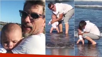 El video súper tierno de Valentín, el hijo del Chato Prada y Lourdes Sánchez, conociendo el mar. Foto: Captura