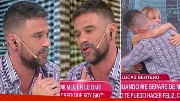 La emoción de Lucas Bertero en El Diario de Mariana tras confesar su sexualidad. Foto: Captura