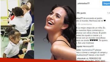El tierno post de Julieta Díaz por el inicio del jardín de su hijita, Elena:
