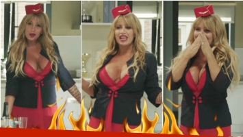 Florencia Peña se convirtió un sexy azafata en Quiero vivir a tu lado (Fotos: Captura)