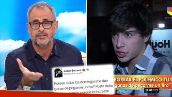 Julián Serrano justificó su desafortunado tweet y Rial explotó