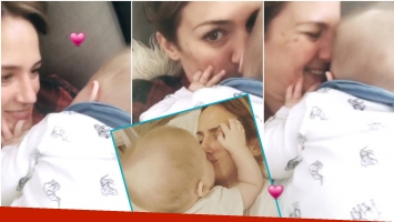 El tierno video de Paula Chaves, a los besos con su hijo Baltazar (Fotos: Captura de Instagram Stories e Instagram)
