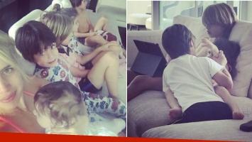 Las tiernas imágenes de Wanda Nara y sus hijos en la mañana del 1º de Mayo.