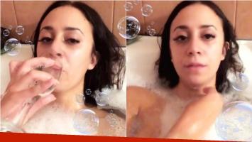 Nai Awada, sexy en Instagram: se grabó en la bañera y tomando champagne. Foto: Captura