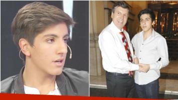 La primera nota periodística de Facundo, el hijo de Carlín Calvo (Fotos: Captura y Web)