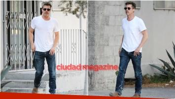 Brad Pitt sorprendió con un nuevo tatuaje en su brazo derecho y despertó suspiros con su look casual (Fotos: Grosby Group)