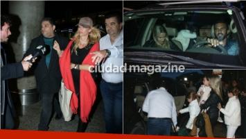 La llegada de Nicole Neumann con sus hijas a Aeroparque