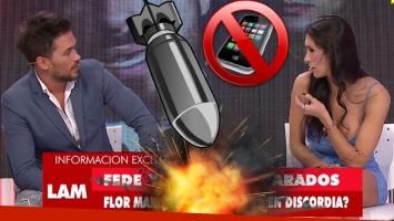 """¡Qué momento! Flor Marcasoli increpó en vivo a Bam Bam Morais: """"Pará, pará, ¿vos me revisás el celular?"""""""