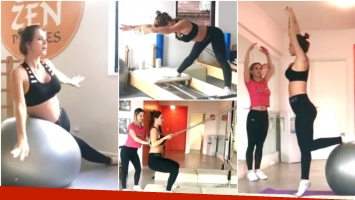 El entrenamiento para embarazadas de Jésica Cirio (Fotos: Captura)