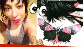 El jugado tatuaje a color que Noelia Pompa se hizo en la nuca (Fotos: Instagram)