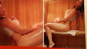 Miriam Lanzoni incendió Instagram con sus fotos hot dentro de un sauna. Foto: Instagram.