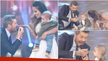 Marcelo Tinelli alimentó a Valentín, el hijo de Lourdes Sánchez en el debut de la bailarina en Bailando 2017 (Fotos: Prensa Ideas del Sur y Captura)