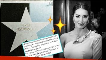 La alegría de Lali Espósito tras ser distinguida con una estrella que lleva su nombre (Fotos: Instagram)