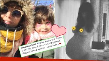 La foto retro (¡y desnuda!) de Griselda Siciliani cuando estaba embarazada de Margarita (Fotos: Instagram)