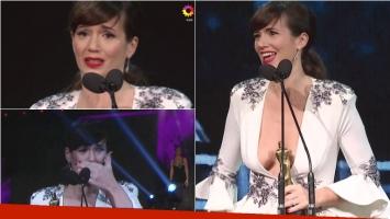 La emoción de Griselda Siciliani al ganar Actriz de Comedia en los Martín Fierro 2017. Foto: Captura