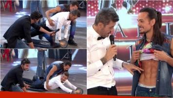 Christian Sancho puso a Tinelli a hacer abdominales y terminó luciéndose con su baile