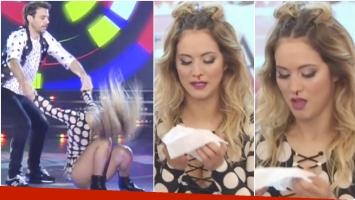 Flor Vigna se dio un rodillazo en Bailando 2017 y quedó con la nariz sangrando (Fotos: Captura)