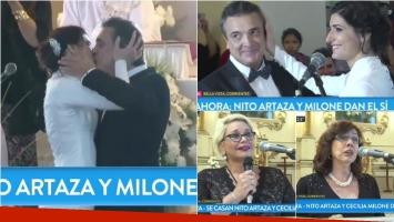 Cecilia Milone y Nito Artaza se casaron: mirá el emotivo momento. Foto: Captura
