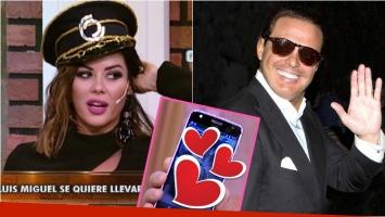 La reacción de Karina Jelinek cuando mostraron en La jaula de la moda los mensajes que le manda Luis Miguel. Foto: Captura