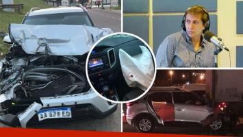 Así quedó el auto de Juan Pablo Vasrsky tras su choque en Panamericana. (Foto: Twitter)