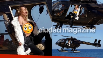 ¡Topless de alto vuelo! Kate Moss, semidesnuda en helicóptero sobre la costa amalfitana. (Foto: Grosby Group)