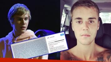Justin Bieber a sus fans: