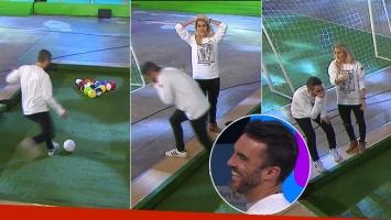 El Pollo Álvarez jugó al fútbol pool en Un sol para los chicos, erró dos tiros ¡y Cubero se le río!