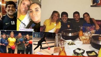 Maradona y Rocío Oliva, cena y bowling