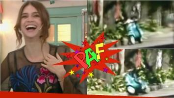 Zaira Nara mostró en Morfi su peor blooper: ¡se cayó de una moto! Foto: Captura
