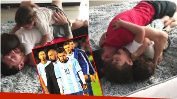 El emotivo reencuentro de Messi con sus hijos tras el inesperado resultado de la Selección ante Venezuela (Fotos: Captura de Instagram y Clarín.com)