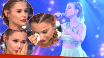 La emoción de Pampita tras escuchar cantar a Laura Esquivel en el Bailando (Fotos: Prensa Ideas del Sur y Captura)